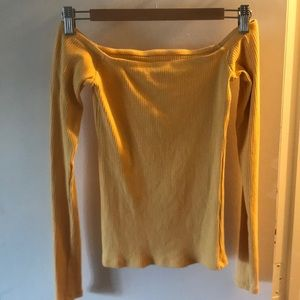 yellow hollister off the shoulder top